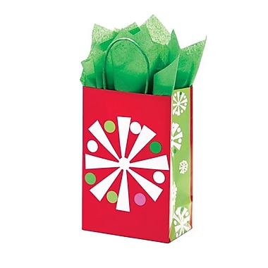Shamrock 5 1/2in. x 3 1/4in. x 8 3/8in. Printed Paper Toucan Shopping Bags, Christmas Check/Snowflake Bling