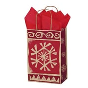 Shamrock 5 1/2 x 3 1/4 x 8 3/8 Printed Paper Toucan Shopping Bags, Homespun Christmas/Kraft