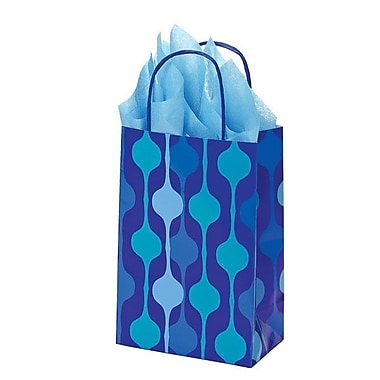 Shamrock 5 1/2in. x 3 1/4in. x 8 3/8in. Printed Paper Toucan Shopping Bags, Snowflake Swirl/Waterfall