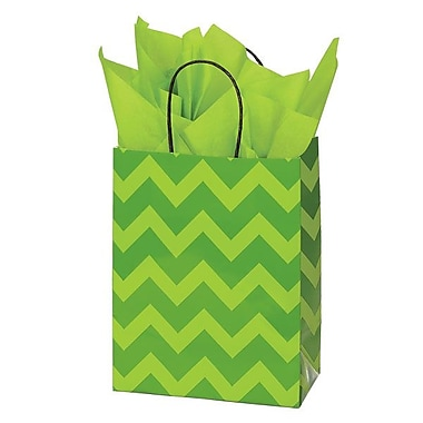 Shamrock 8in. x 4 3/4in. x 10 1/2in. Printed Paper Chimp Shopping Bags, Bold Floral/Chevron