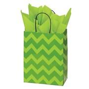 Shamrock 8 x 4 3/4 x 10 1/2 Printed Paper Chimp Shopping Bags, Bold Floral/Chevron