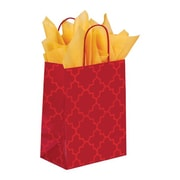 Shamrock 8 x 4 3/4 x 10 1/2 Printed Paper Chimp Shopping Bags, Moroccan Tile