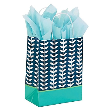 Shamrock 8in. x 4 3/4in. x 10 1/2in. Printed Paper Chimp Shopping Bags, Leaf Silhouette