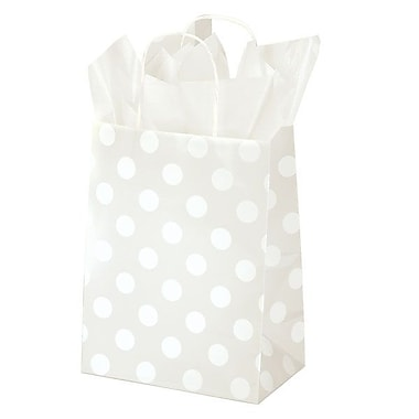 Shamrock 8in. x 4 3/4in. x 10 1/2in. Printed Paper Chimp Shopping Bags, Polka Dot Pearl