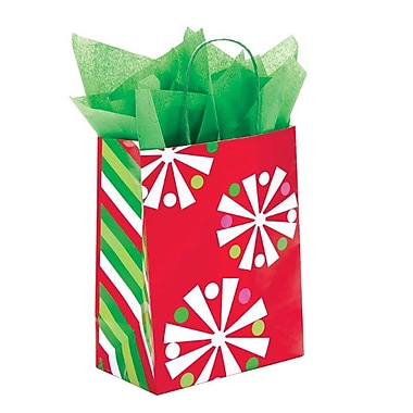 Shamrock 8in. x 4 3/4in. x 10 1/2in. Printed Paper Chimp Shopping Bags, Christmas Check/Snowflake Bling