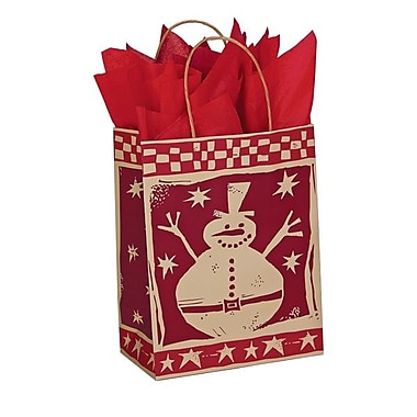 Shamrock 8in. x 4 3/4in. x 10 1/2in. Printed Paper Chimp Shopping Bags, Homespun Christmas/Kraft