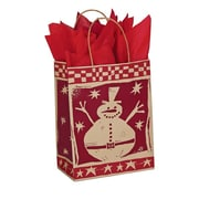 Shamrock 8 x 4 3/4 x 10 1/2 Printed Paper Chimp Shopping Bags, Homespun Christmas/Kraft