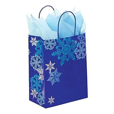 Shamrock 8in. x 4 3/4in. x 10 1/2in. Printed Paper Chimp Shopping Bags, Snowflake Swirl/Waterfall
