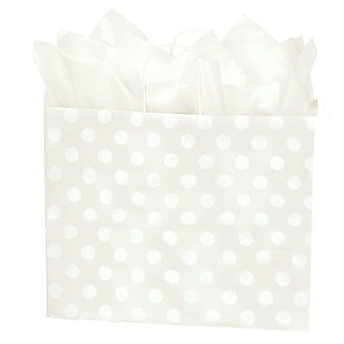 Shamrock 16in. x 6in. x 13in. Printed Paper Jaguar Shopping Bags, Polka Dot Pearl