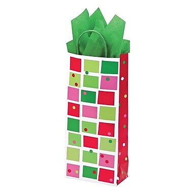 Shamrock 5 1/2in. x 3 1/4in. x 12 1/2in. Christmas Check Single Bottle Crane Shopping Bags, Red/Green/Pink