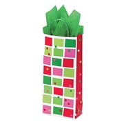 Shamrock 5 1/2 x 3 1/4 x 12 1/2 Christmas Check Single Bottle Crane Shopping Bags, Red/Green/Pink