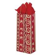 Shamrock 5 1/2 x 3 1/4 x 12 1/2 Homespun Christmas/Kraft Bottle Crane Shopping Bags, Assorted
