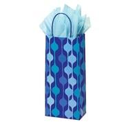 Shamrock 5 1/2 x 3 1/4 x 12 1/2 Printed Paper Crane Shopping Bags, Snowflake Swirl/Waterfall