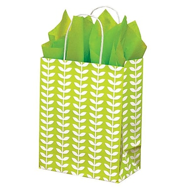 Shamrock 8in. x 4 3/4in. x 10 1/2in. Recycled White Kraft Chimp Shopping Bags, Spring Leaf Green/White