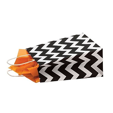 Shamrock 8in. x 4 3/4in. x 10 1/2in. Recycled White Kraft Chimp Shopping Bags, Black Chevron/White