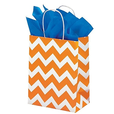 Shamrock 8in. x 4 3/4in. x 10 1/2in. Recycled White Kraft Chimp Shopping Bags, Orange Chevron/White