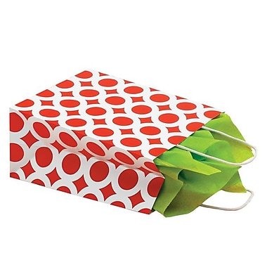 Shamrock 8in. x 4 3/4in. x 10 1/2in. Recycled White Kraft Chimp Shopping Bags, Red/White Circles
