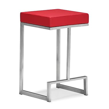 Zuo® Plush Leatherette Darwen Counter Chair, Red