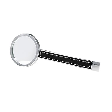 Natico Silver Metal 2.5x Magnifier With Leather Trim, 6