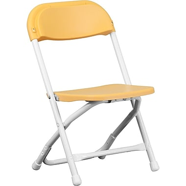 Flash Furniture Kids Plastic Armless Folding Chair, Yellow, 40/Pack