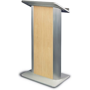 Amplivox Lectern, Flat C-Panel, Maple-Satin Anodized Aluminum