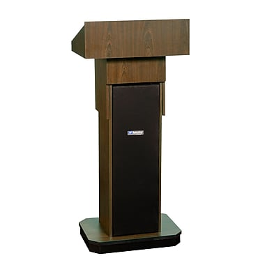 Amplivox Lectern, Non-Sound, Adjustable, Full-Height, Column, Walnut