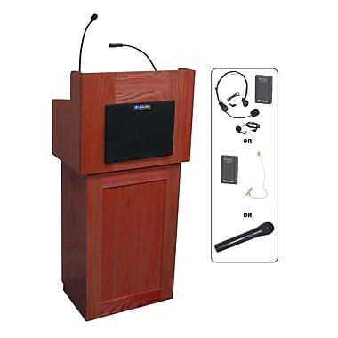 Amplivox Lectern, Wireless, Hardwood, Oxford, 2-Pc, Mahogany
