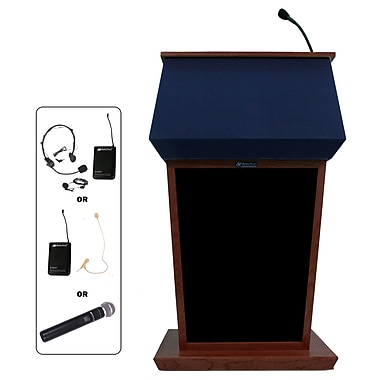 Amplivox Lectern, Hardwood, Wireless Sound, Patriot, Mahogany