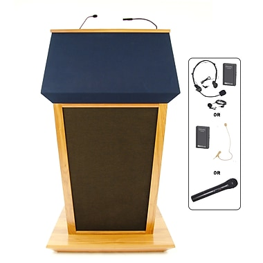 Amplivox Lectern, Wireless Sound, Hardwood, Patriot Plus, Natural Oak