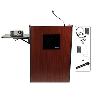 Amplivox Lectern, Wireless, Deluxe-Multimedia, Mahogany