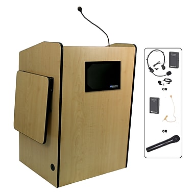 Amplivox Lectern, Wireless, Deluxe-Multimedia, Maple
