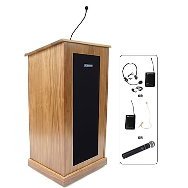 Amplivox Lectern, Wireless, veneer, Chancellor, Light Oak