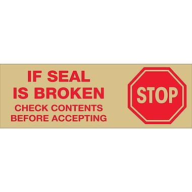 Tape Logic™ 2in. Pre Printed in.Stop If Seal Is Brokenin. Carton Sealing Tape, Red On Tan, 18/Pack