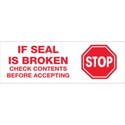 Tape Logic™ 2 Pre Printed Stop If Seal Is Broken Carton Sealing Tape, Red On White, 18/Case