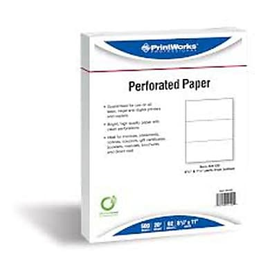Printworks® Professional 8 1/2in. x 11in. 20 lbs. Perforated 3in. Paper, 2500/Case