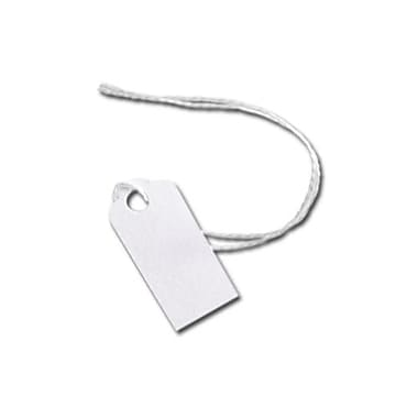 White Merchandise Tag With White String, 5/8in. x 15/16in.