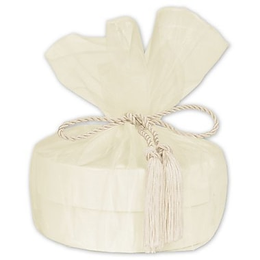 28in. Sheer Organza Wrap With Tassel, Ivory