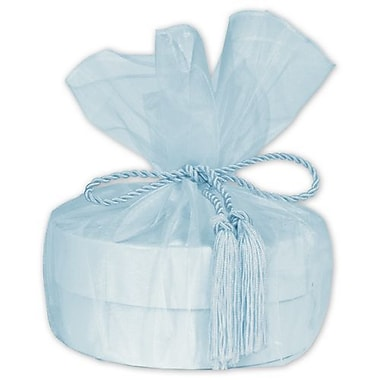 28in. Sheer Organza Wrap With Tassel, Light Blue