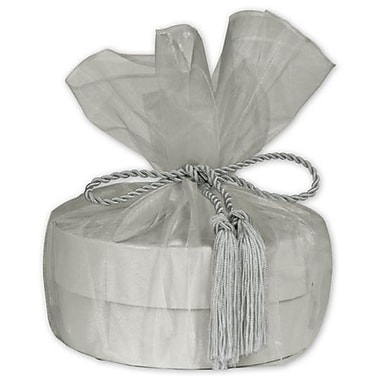 28in. Sheer Organza Wrap With Tassel, Silver