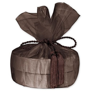 28in. Sheer Organza Wrap With Tassel, Brown