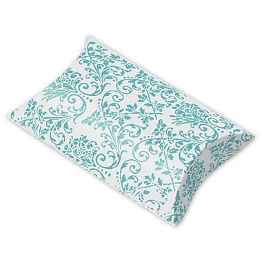Polyethylene Terephthalate 1in.H x 3in.W x 3.5in.L Damask Favor Pillow Boxes, Turquoise/White, 12/Pack