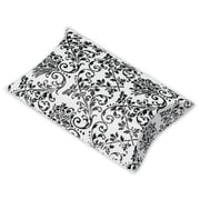 "Polyethylene Terephthalate 1""H x 3""W x 3.5""L Damask Favor Pillow Boxes, White/Black, 12/Pack"
