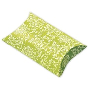 "Polyethylene Terephthalate 1""H x 3""W x 3.5""L Damask Favor Pillow Boxes, Lime/White, 12/Pack"