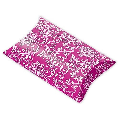 1in. x 3in. x 3 1/2in. Damask Favor Pillow Boxes, Hot Pink/White