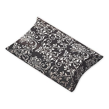 1in. x 3in. x 3 1/2in. Damask Favor Pillow Boxes, Black/White