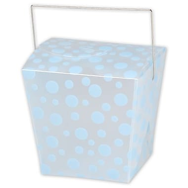 4in. x 3 1/2in. x 4in. Frosted Dots Event Boxes, Light Blue on Silver