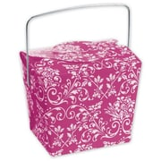 "2 1/2"" x 2"" x 2 3/4"" Damask Event Boxes, Hot Pink"