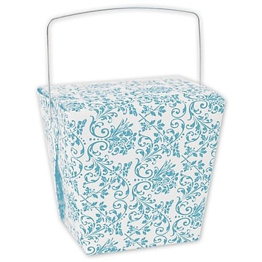 4in. x 3 1/2in. x 4in. Damask Event Boxes, Turquoise