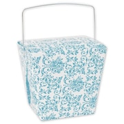 4 x 3 1/2 x 4 Damask Event Boxes, Turquoise