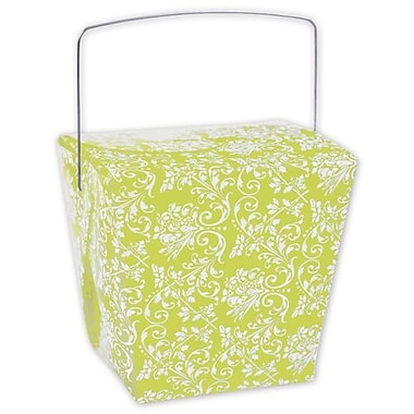 4in. x 3 1/2in. x 4in. Damask Event Boxes, Lime